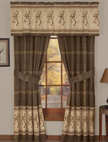 Browning Buckmark Rustic Cabin Curtains | The Cabin Shack