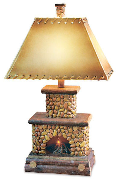 Stone Fireplace Table Lamp for Rustic Decor | The Cabin Shack