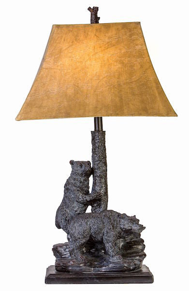 Twin Bears Table Lamp for Rustic Decor | The Cabin Shack