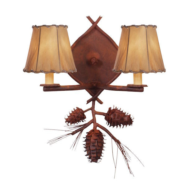 Rustic Wall Sconce | Double Ponderosa Pine | The Cabin Shack