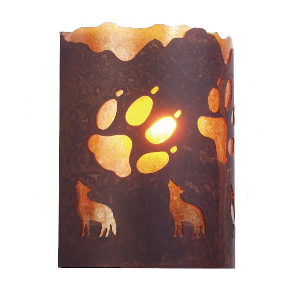 Rustic Wall Sconce | A Wolf Was Here | The Cabin Shack