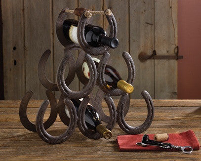 Horseshoe Wine Rack for Western Decor | The Cabin Shack