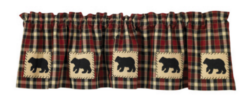 Cabin Decor - Black Bear Lined Applique Valance - The Cabin Shack