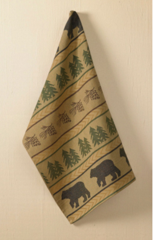 Cabin Decor - Bear and Pinecone Jacquard Dishtowel - The Cabin Shack