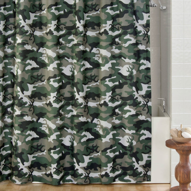 Browning Buckmark Camo Green Shower Curtain| The Cabin Shack