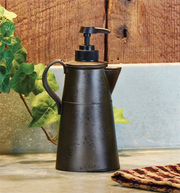 Tin Coffee Pot Dispenser | Rustic Bathroom | The Cabin Shack