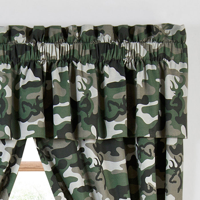 Cabin Decor - Buckmark Camo Green Valance - The Cabin Shack