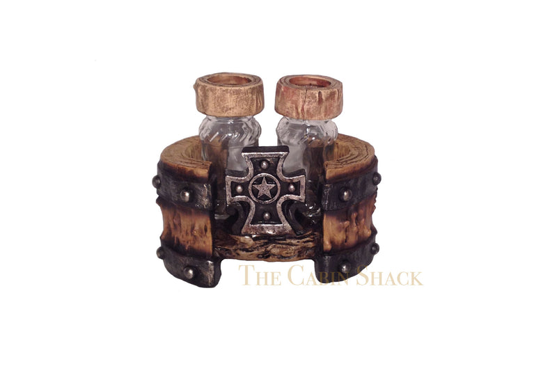 Cabin Decor - Cross Salt and Pepper Shaker with Holder - The Cabin Shack