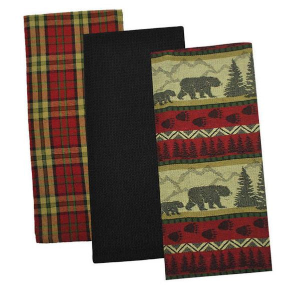 Cabin Decor - Bear Country Dishtowels - Set of 3 - The Cabin Shack