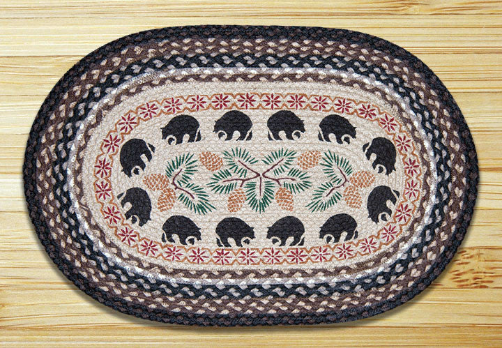 Cabin Rugs | Black Bear and Pinecone Jute | The Cabin Shack