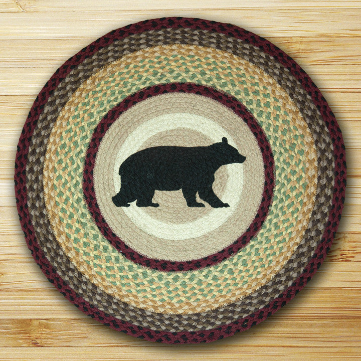 Cabin Rugs | Black Bear Round Jute Rug | The Cabin Shack