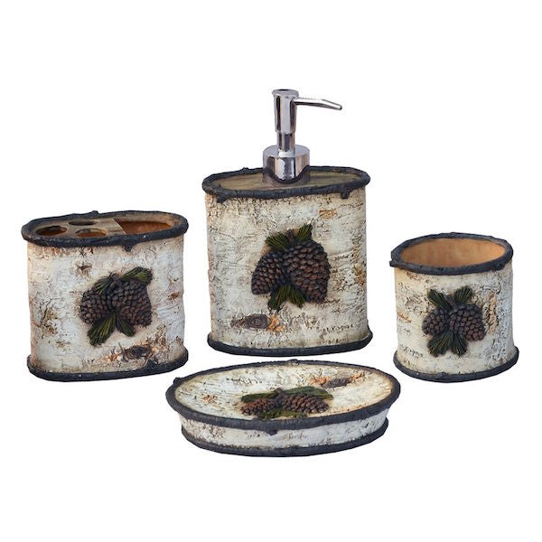 4 PC Pinecone and Bathroom Set | The Cabin Shack