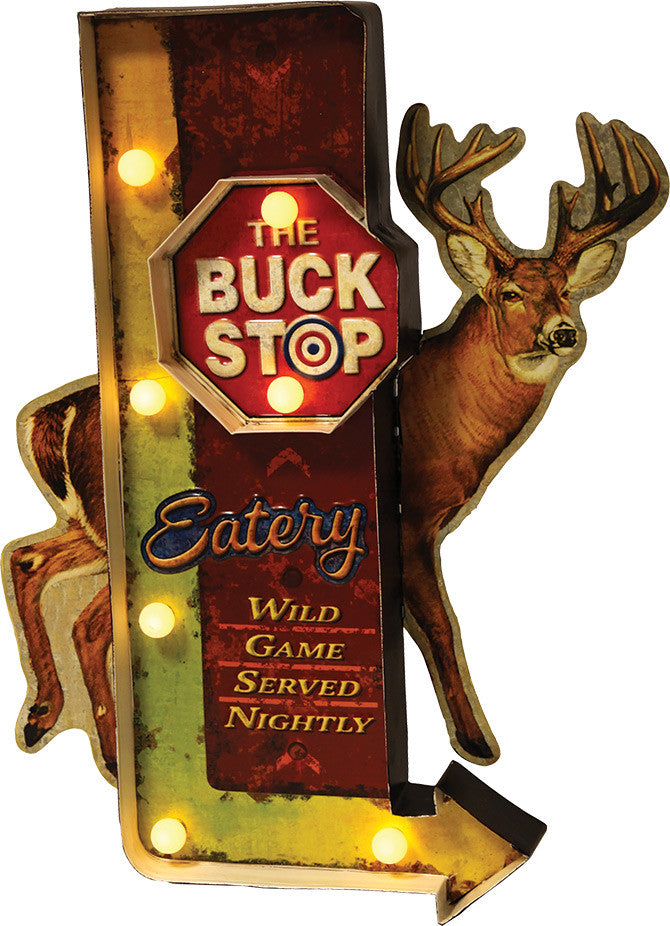 Cabin Decor - Vintage Buck Stop LED Metal Bar Sign - The Cabin Shack