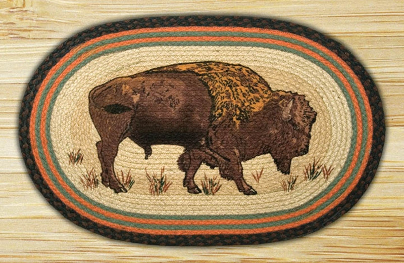 Cabin Decor - Buffalo Oval Patch Rug - The Cabin Shack