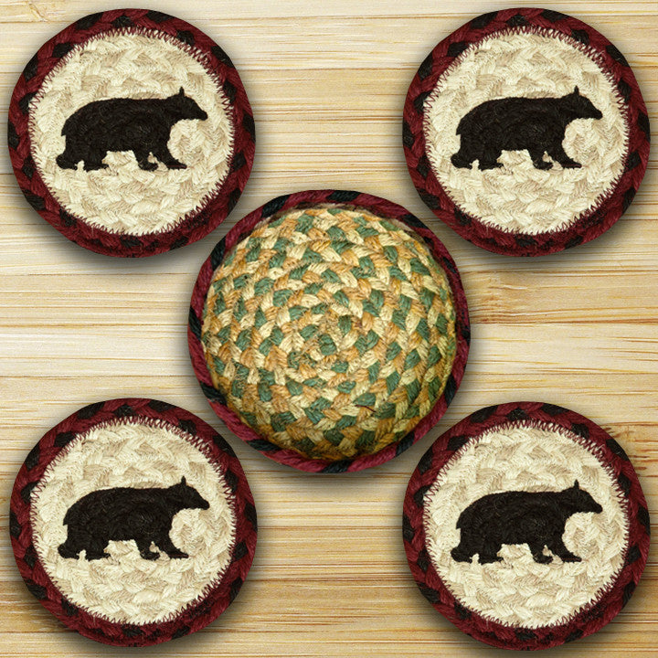 Cabin Decor - Bear Cabin Coasters & Basket - The Cabin Shack