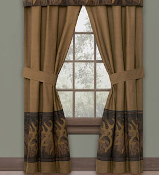 Cabin Decor - Browning Oak Tree Buckmark Rod Pocket Curtains - The Cabin Shack