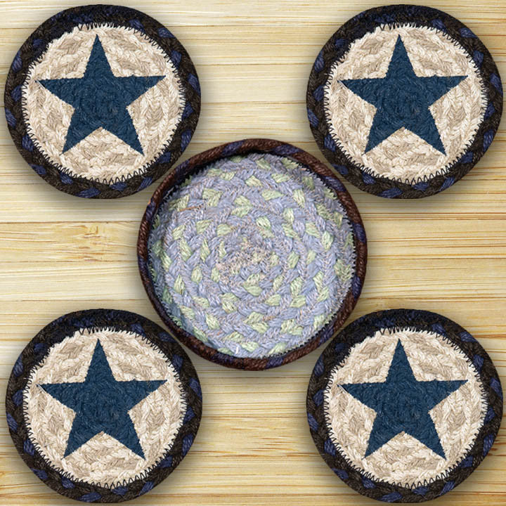Western Blue Star Coasters & Basket