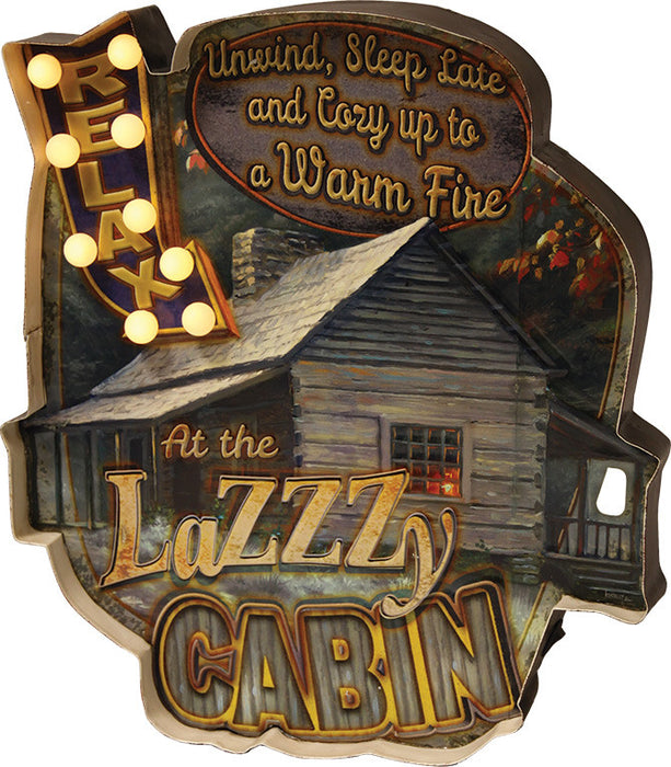 Cabin Decor - Vintage Relax and Lazy Cabin Metal LED Sign