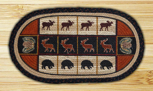 Cabin Decor - Lodge Cabin Moose, Bear, and Pinecone Hand Printed Rug - The Cabin Shack