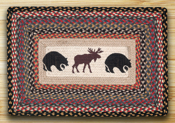 Cabin Decor - Bear/Moose Print Patch Rug - The Cabin Shack