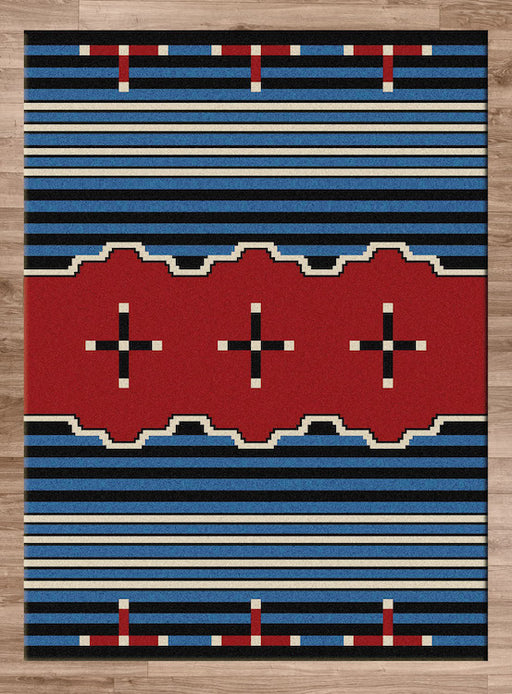 Native Cross Blue Rug | The Cabin Shack