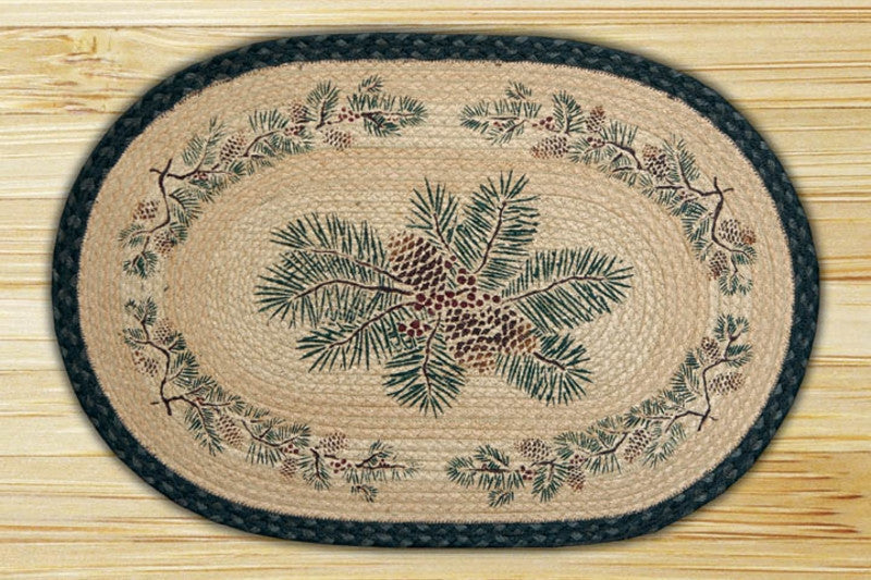 Pinecone Red Berry Hand Printed Rug - The Cabin Shack