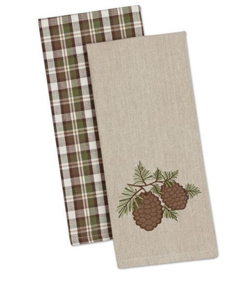 Cabin Decor - Pinecone Dishtowel - Set of 2 - The Cabin Shack