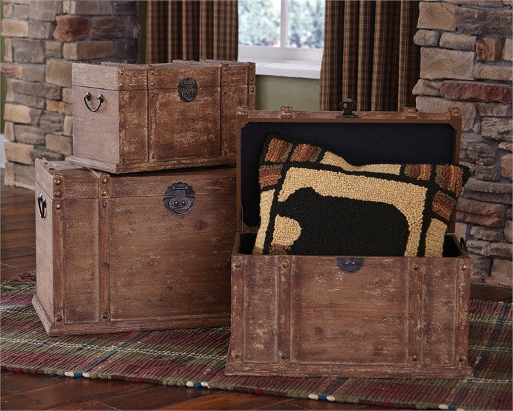 Distressed Wood Trunks - Set of 3