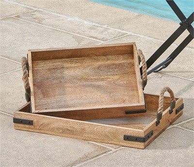 Rustic Wood Trays with Rope - Set of 2