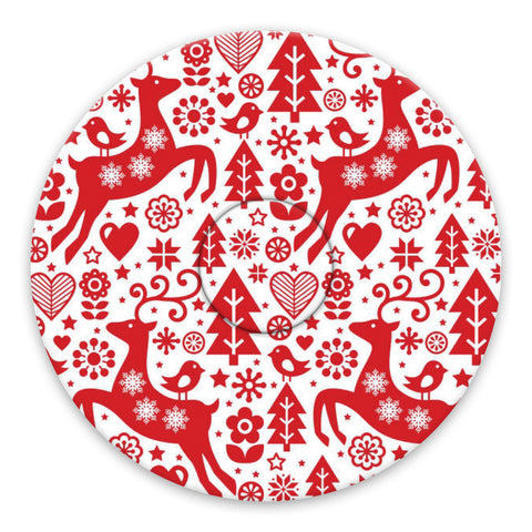 Christmas red & white deer paper adhesive patches - all devices.