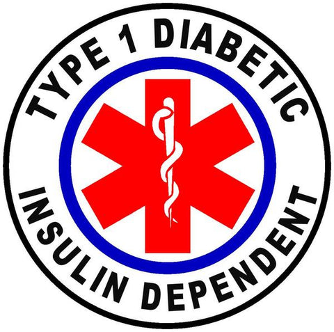 Type 1 Diabetic Medical alert stickers.