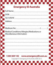Emergency ID - Write on cards.
