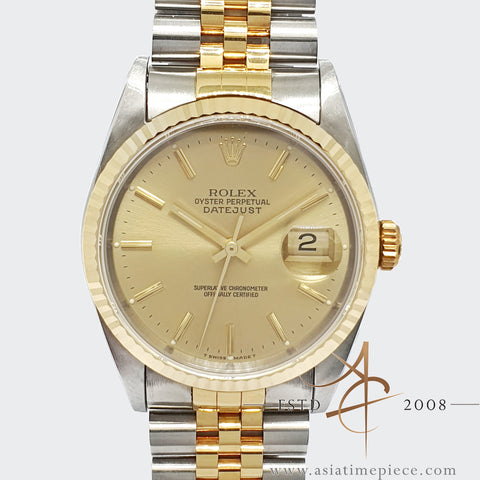 [Cert/Box] Mint Unpolished Rolex Datejust 16233 Champagne Dial Full Set (1991)