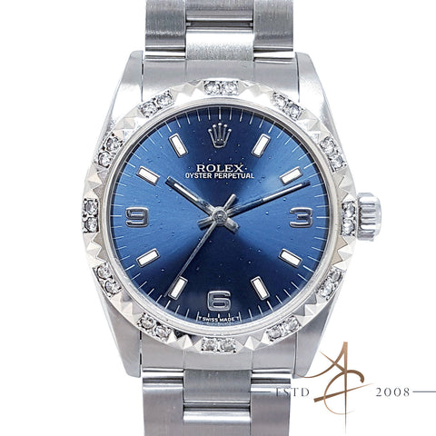 (SOLD) Rolex Oyster Perpetual Midsize Ref 67514 Blue Sunburst Dial Diamond (Year 1996)