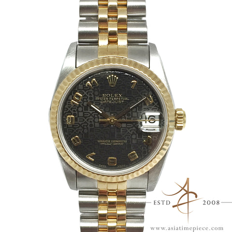 Rolex Midsize Datejust Ref 68273 Black Computer Dial 18K Gold Steel (Year 1991)