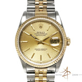 Rolex Oyster Perpetual Datejust Tapestry Dial 18K Gold Steel (Year 1990)