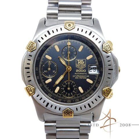 Tag Heuer Super 2000 Professional Ref 165.306/1 Chronograph Automatic Gold Steel Watch