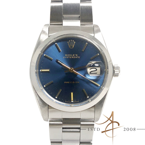 Rolex Oysterdate Precision 6694 Blue Dial Vintage Watch (Year 1984)