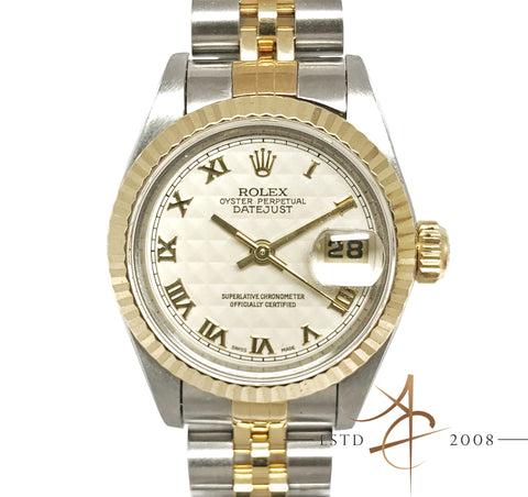 [Full Set] Rolex Datejust Ref 69173 Pyramid Dial Ladies Half Gold (1995)