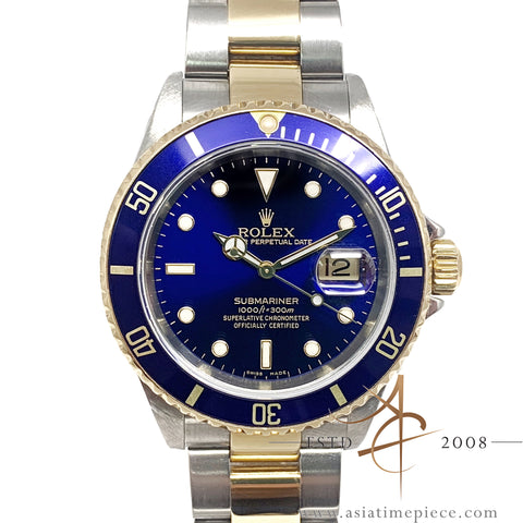 Rolex Submariner Blue 16613T Gold Steel No Pinhole (Year 2004)