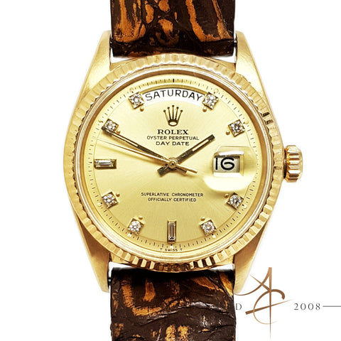 Rolex President Day Date Ref 1803 Custom Diamond Dial 18K Gold Vintage Watch (Year 1964)