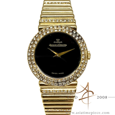 [Rare] Jaeger LeCoultre Onyx Dial 18K Gold Diamond Vintage Ladies Watch (1983)