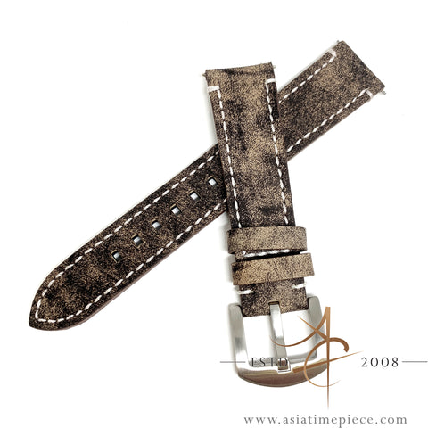 Bomber Distressed Calf Leather Strap 20mm Brown