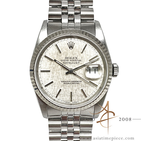 Rolex Oyster Perpetual Datejust Ref 16234 Linen Dial Vintage Watch (Year 1988)