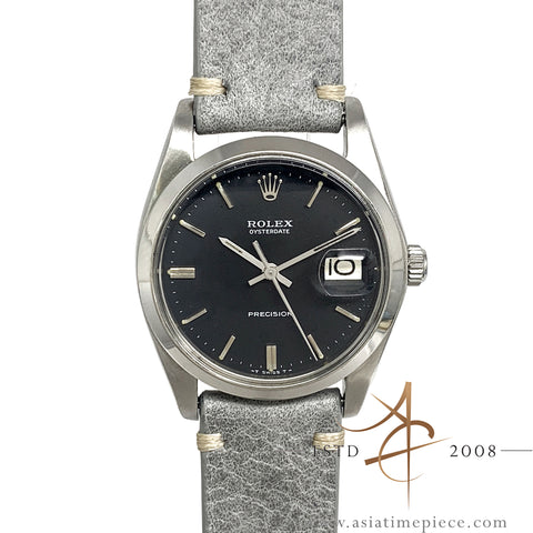 Rolex Oysterdate Precision 6694 Dark Grey Dial Vintage Watch (Year 1978)