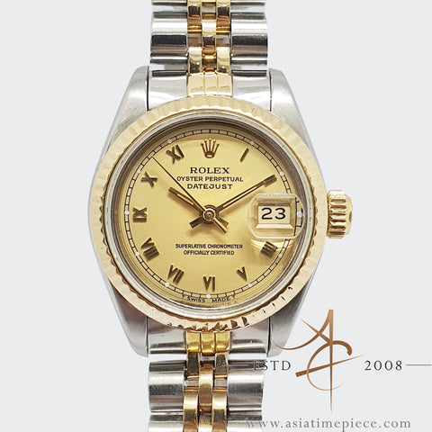 Rolex Lady Datejust 69173 Champagne Roman Dial Vintage Watch (1984)