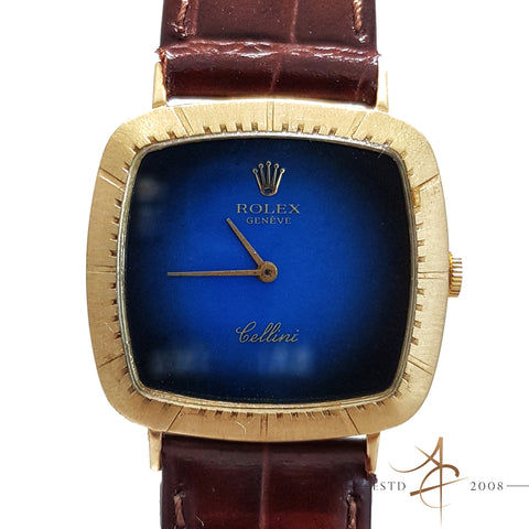 (SOLD) Rolex Cellini Ref 4084 Midnight Blue Dial 18K Gold  Watch