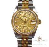 Rolex Datejust 68273 Diamond Gold Steel Midsize Vintage Watch (Year 1992)