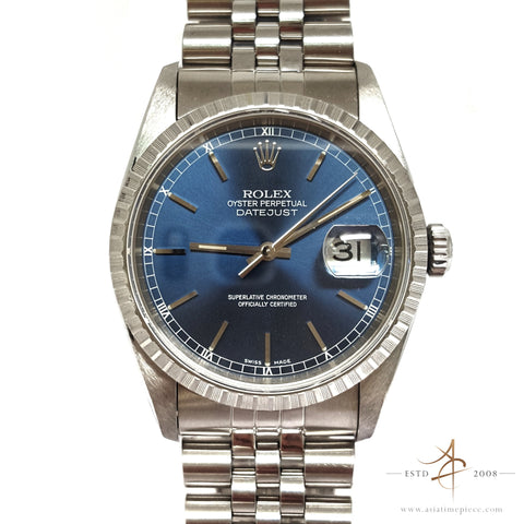 Rolex Datejust 16220 Blue Dial with Japan Cert (Year 1995)