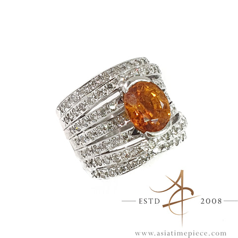 2.0 Carat Yellow Sapphire Diamond Ring 18K White Gold Band